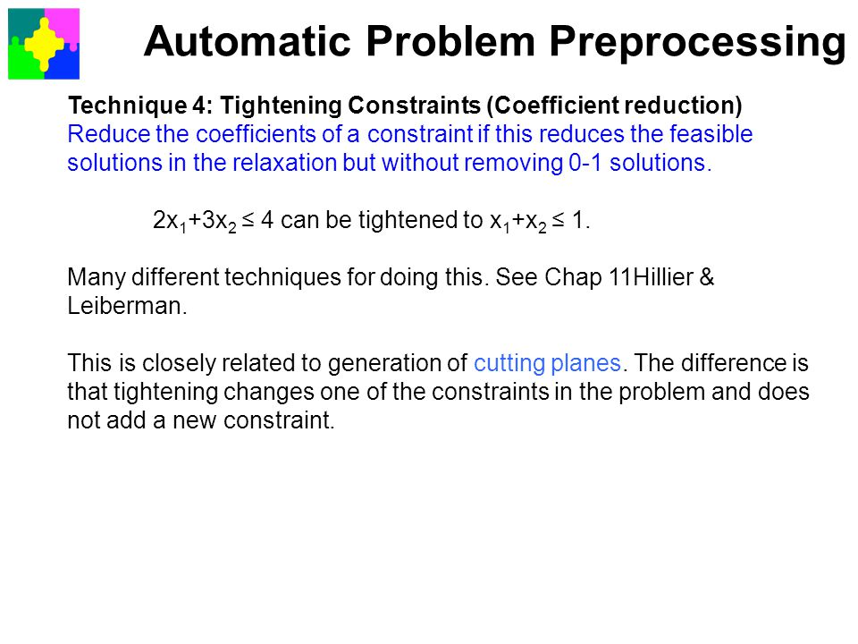 Automatic Problem Preprocessing