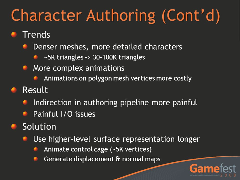 Character Authoring (Cont'd)