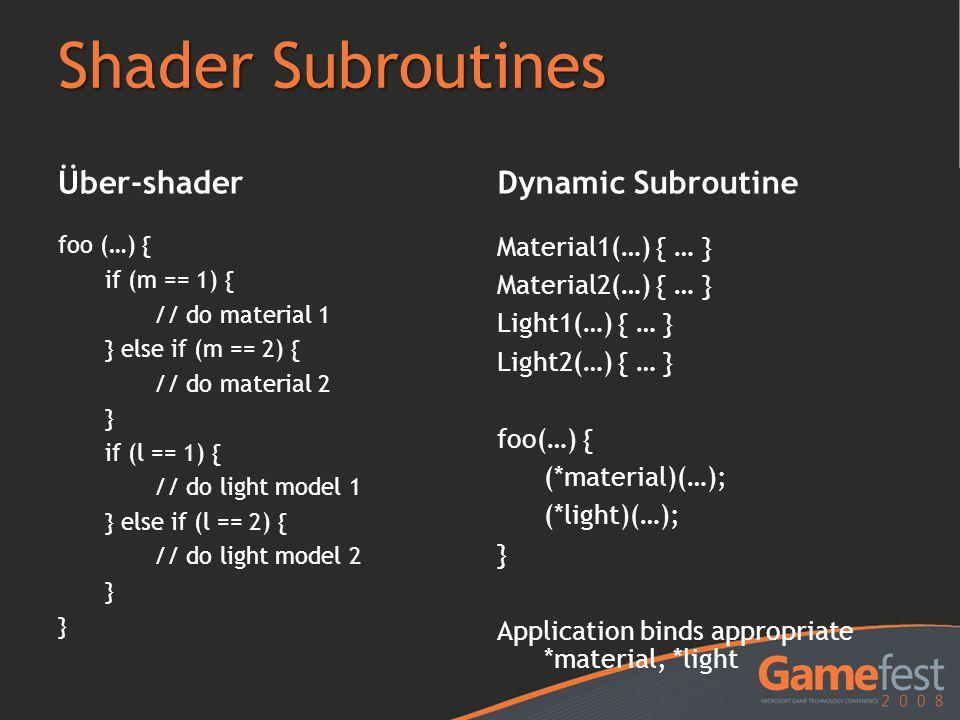 Shader Subroutines Über-shader Dynamic Subroutine