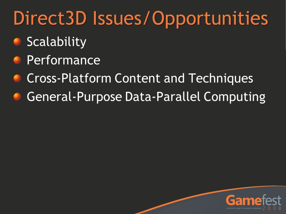 Direct3D Issues/Opportunities