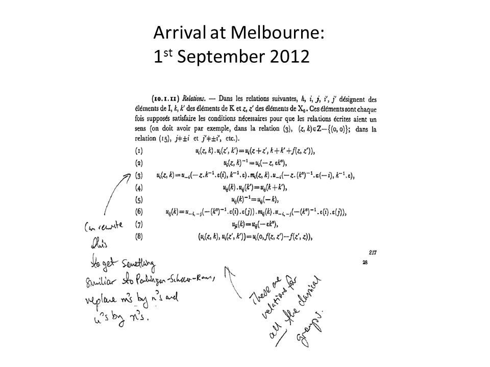 Arrival at Melbourne: 1st September 2012
