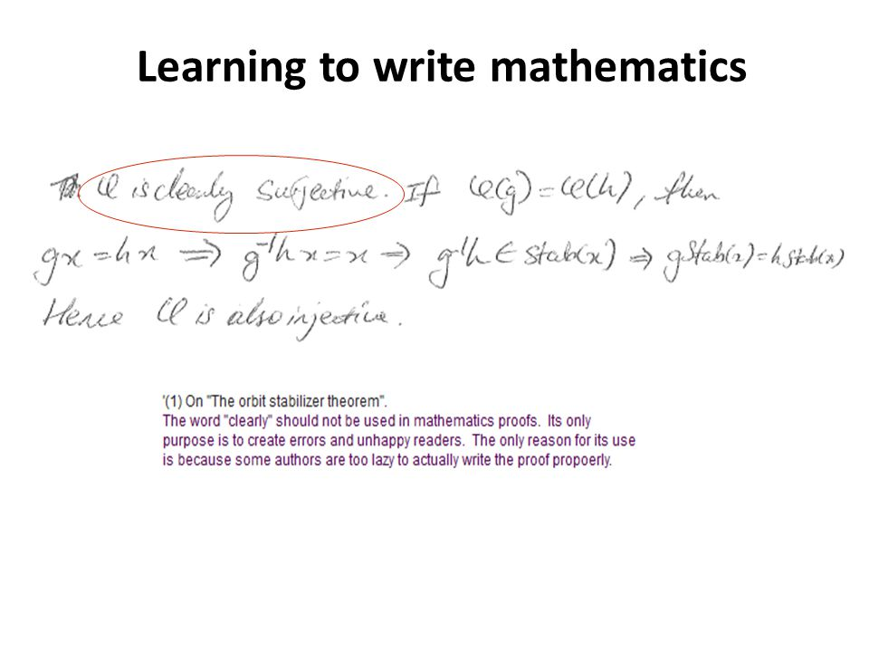 Learning to write mathematics