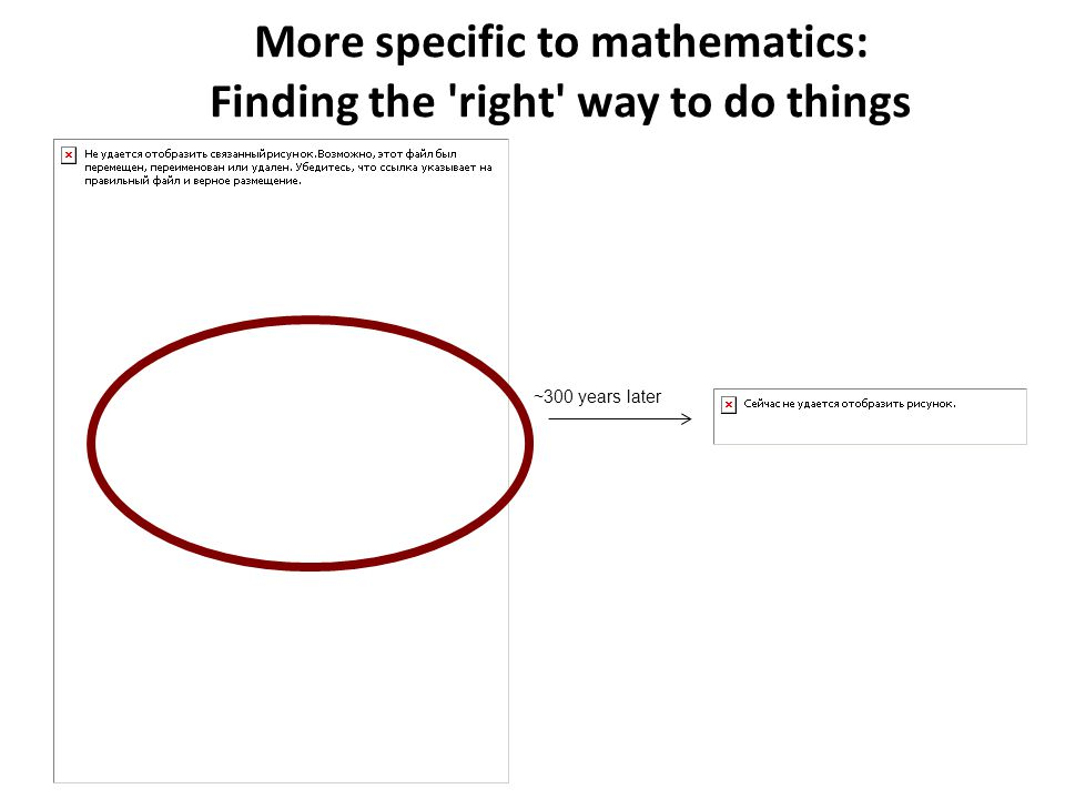 More specific to mathematics: Finding the right way to do things