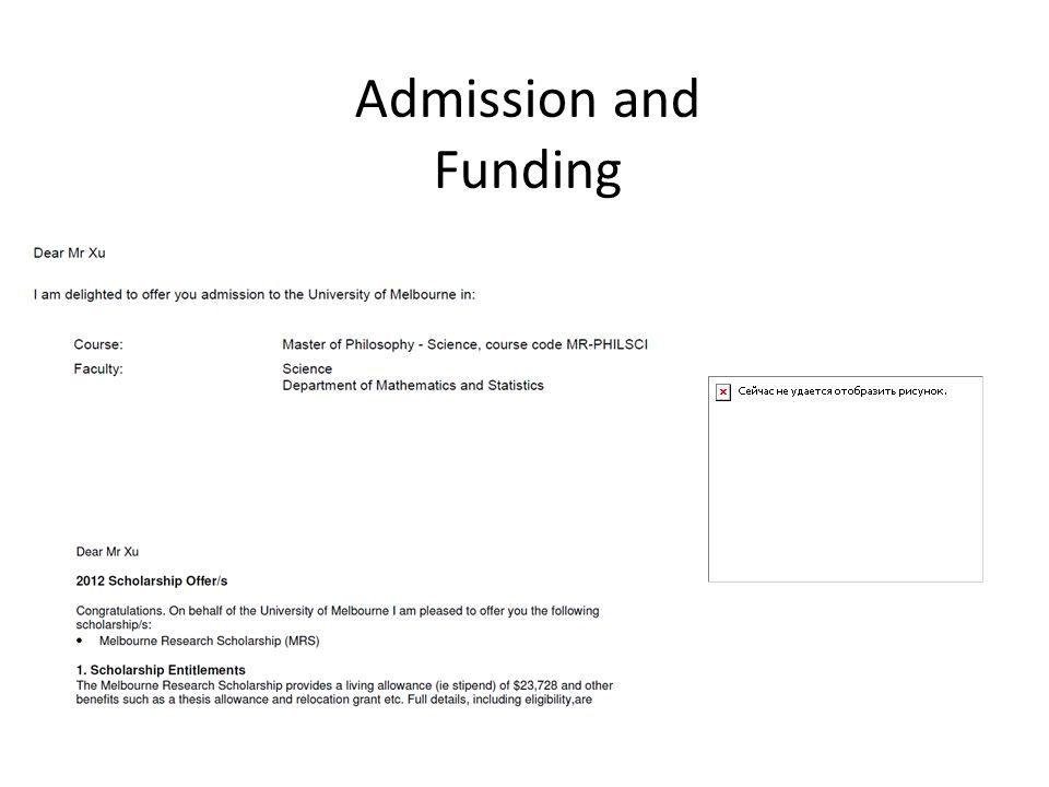 Admission and Funding