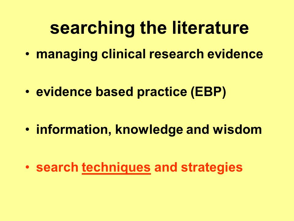 searching the literature