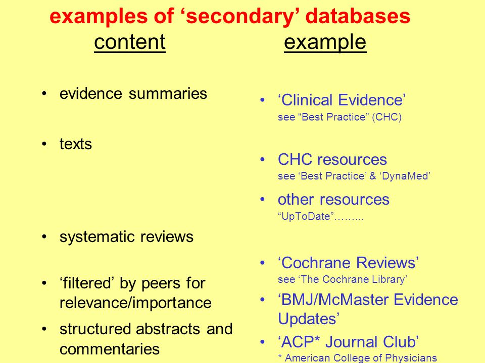 examples of 'secondary' databases content example