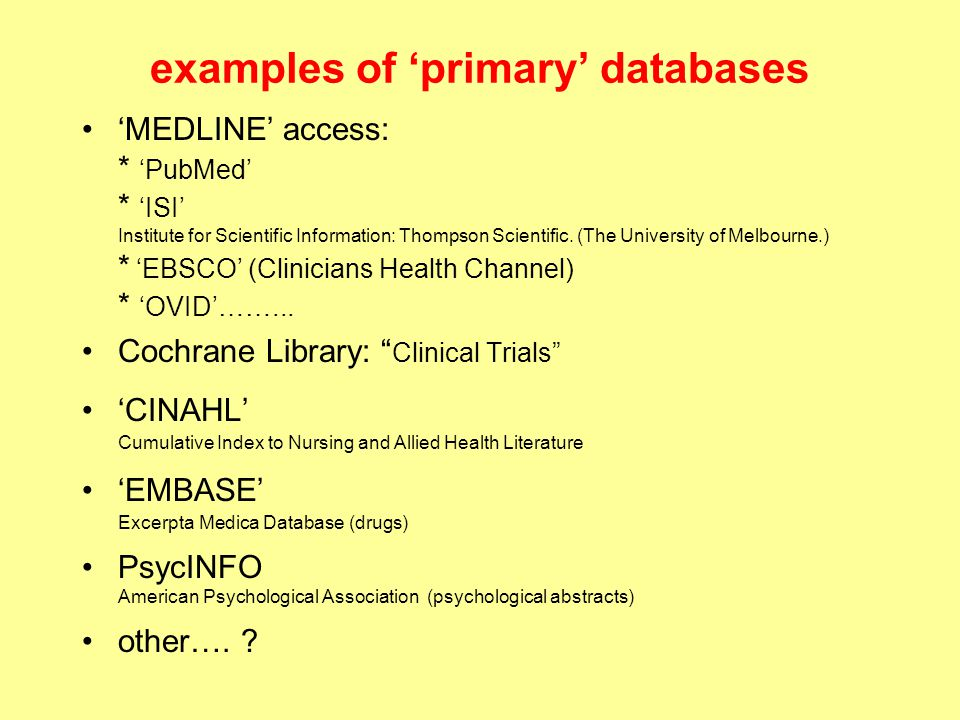 examples of 'primary' databases