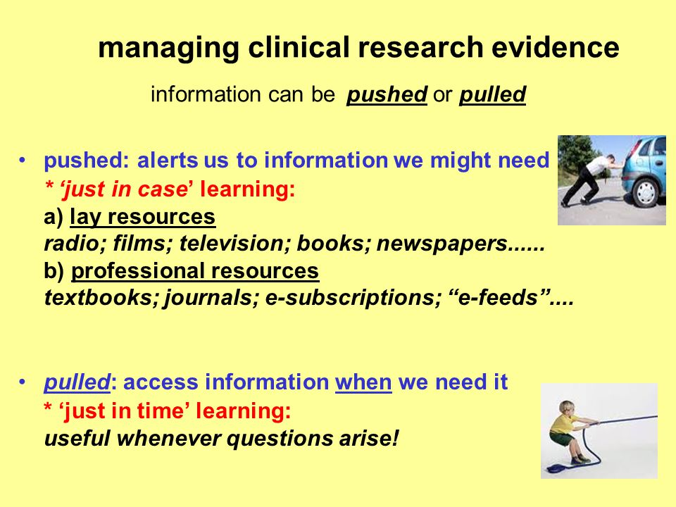 managing clinical research evidence information can be pushed or pulled