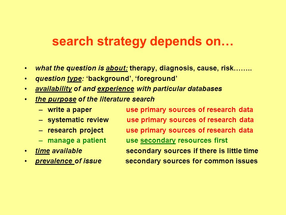 search strategy depends on…