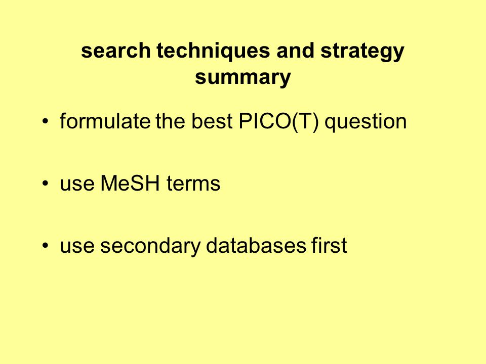 search techniques and strategy summary