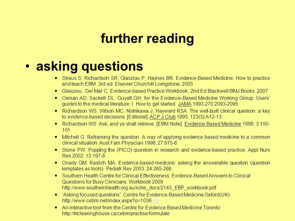 further reading asking questions