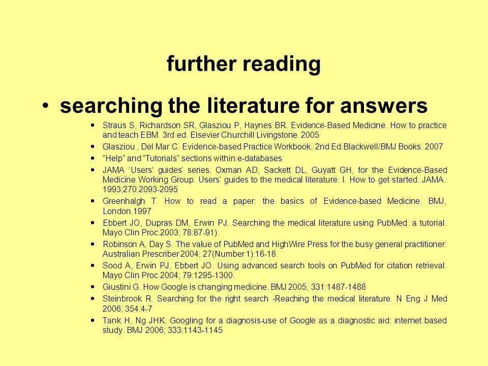 searching the literature for answers