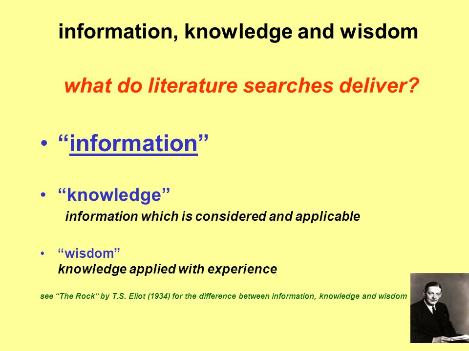 information, knowledge and wisdom what do literature searches deliver