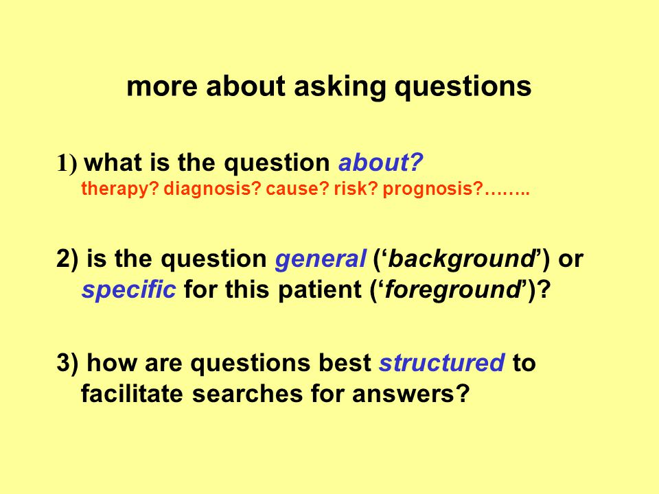 more about asking questions
