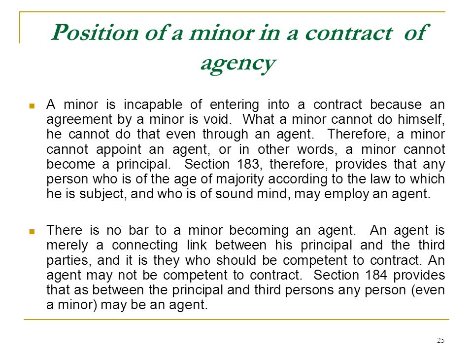 Position of a minor in a contract of agency