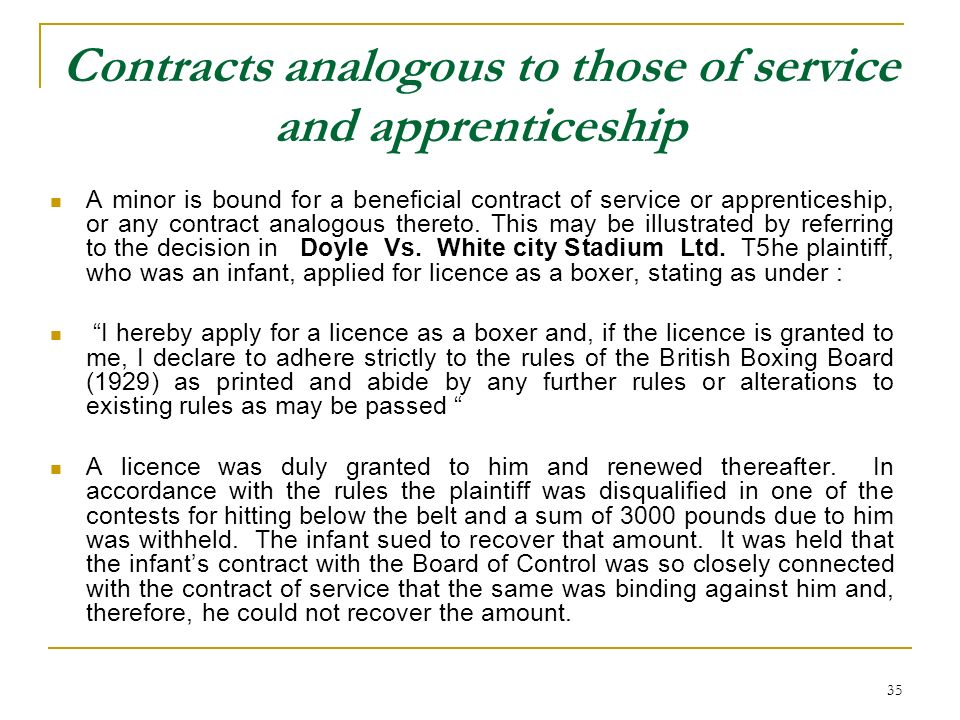 Contracts analogous to those of service and apprenticeship