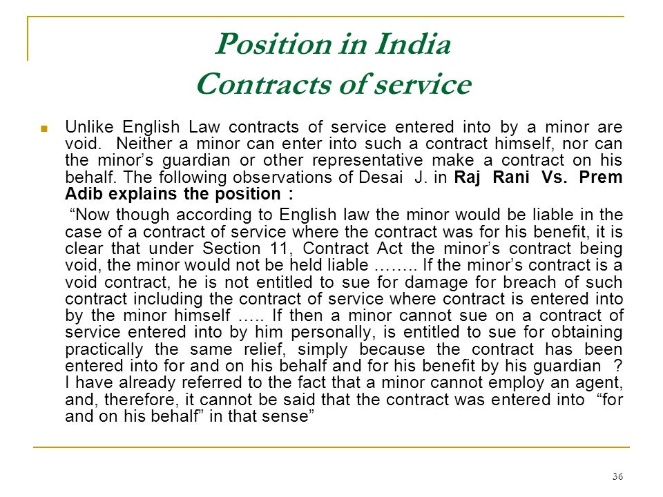 Position in India Contracts of service