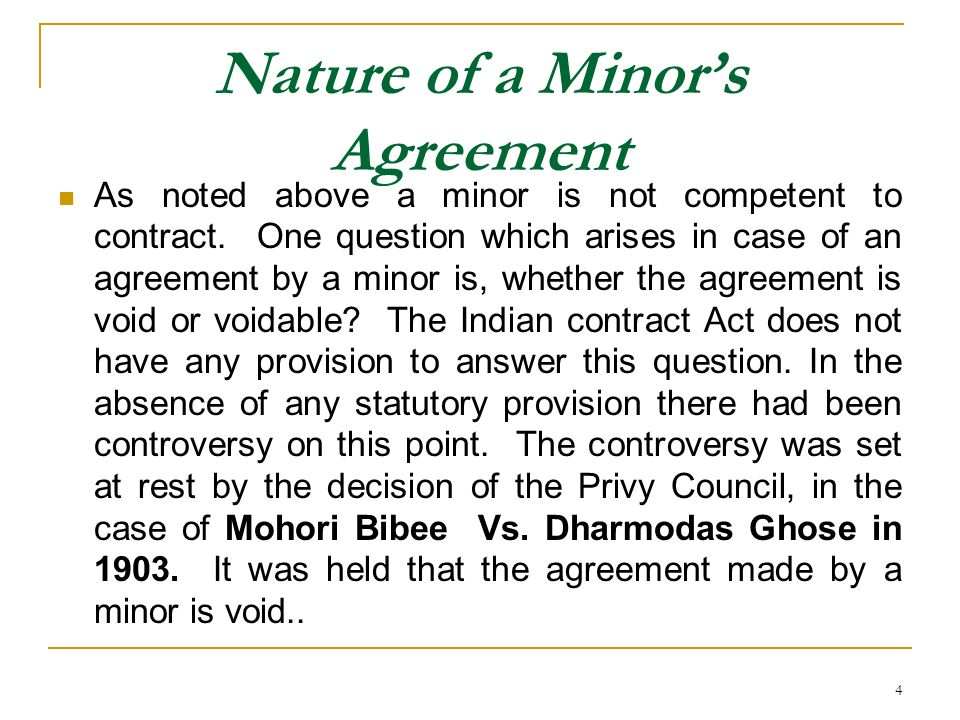 Nature of a Minor's Agreement