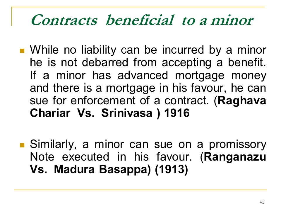 Contracts beneficial to a minor