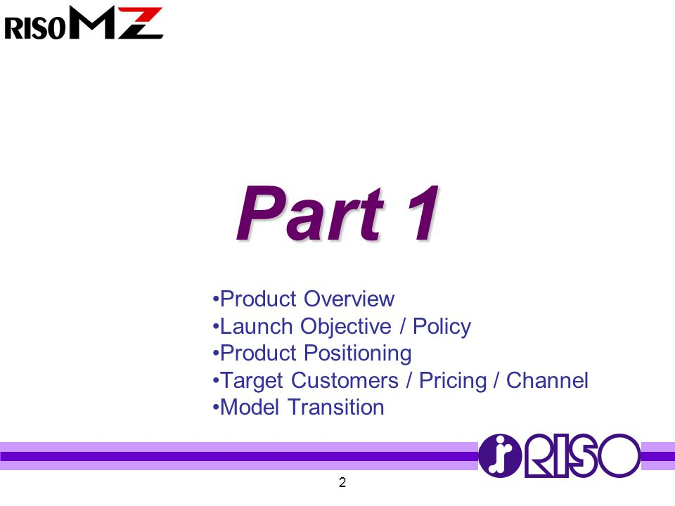 Part 1 Product Overview Launch Objective / Policy Product Positioning