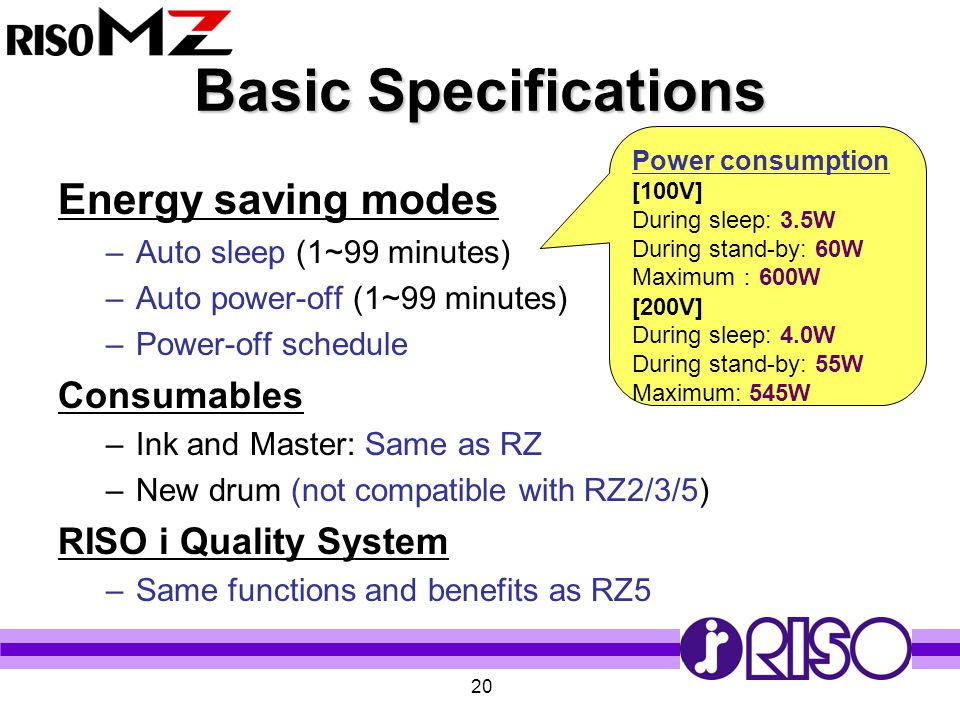 Basic Specifications Energy saving modes Consumables