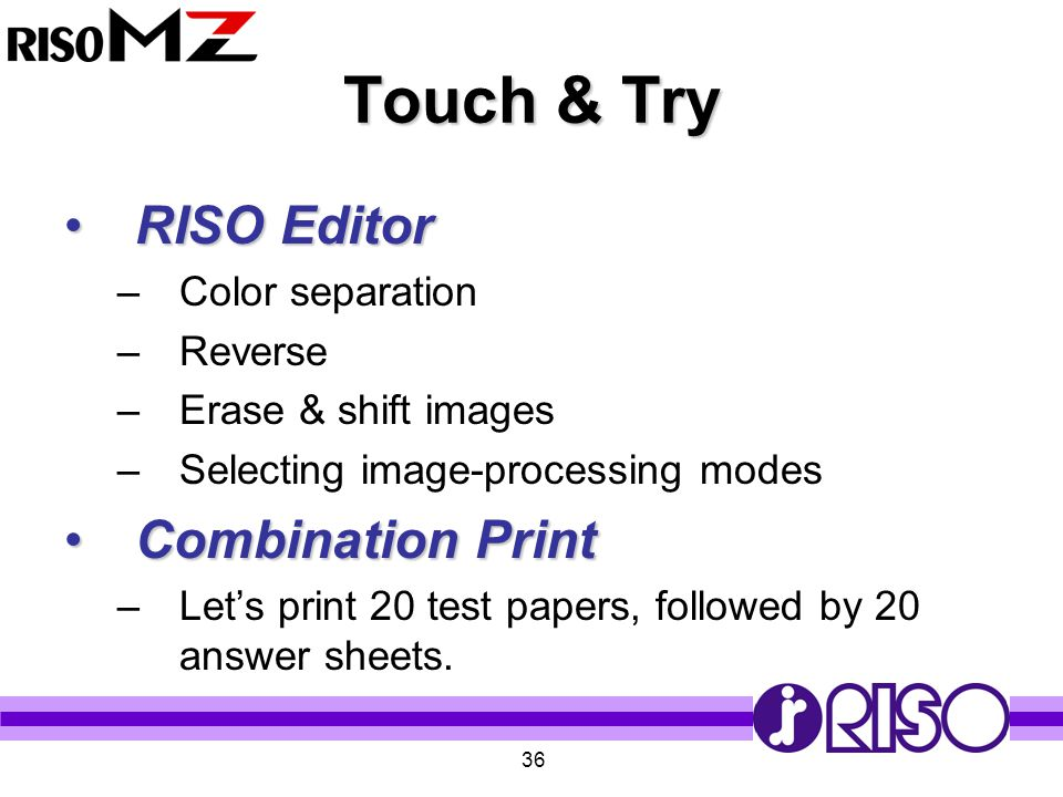 Touch & Try RISO Editor Combination Print Color separation Reverse