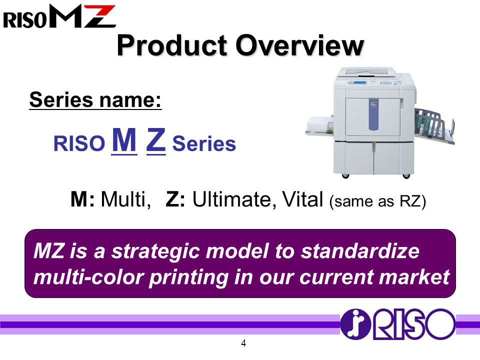 Product Overview Series name: RISO M Z Series