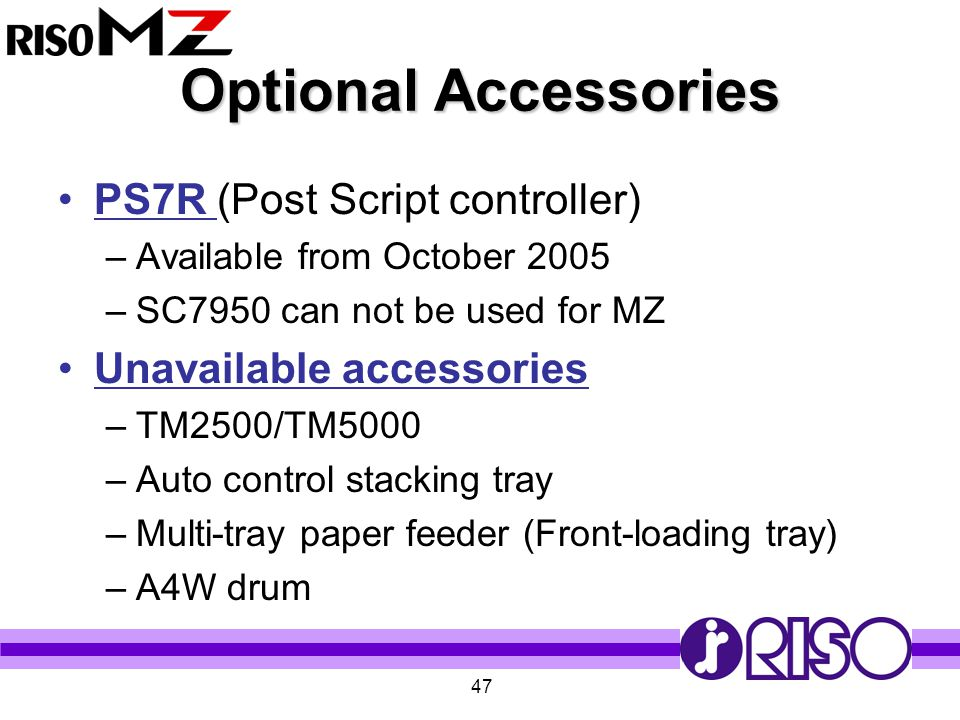 Optional Accessories PS7R (Post Script controller)