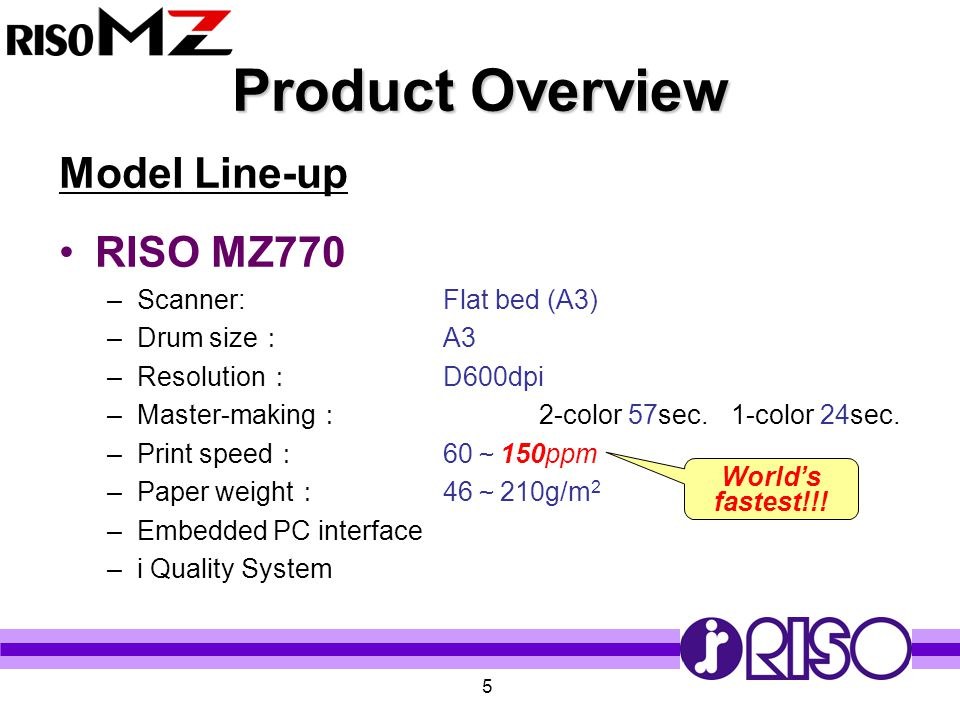 Product Overview Model Line-up RISO MZ770 Scanner: Flat bed (A3)