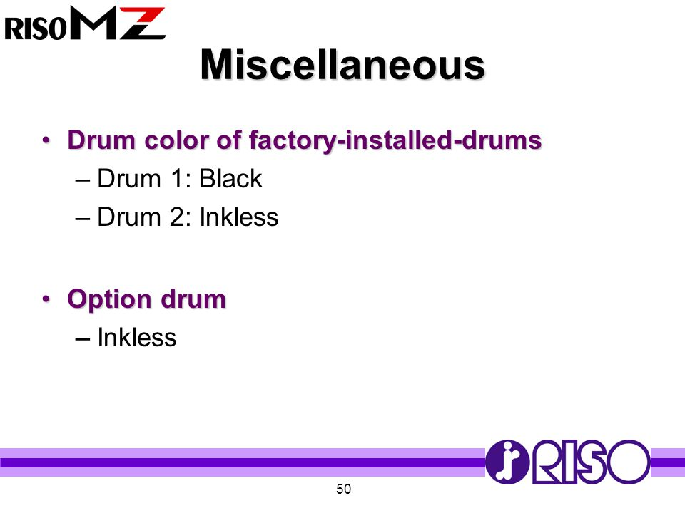 Miscellaneous Drum color of factory-installed-drums Drum 1: Black