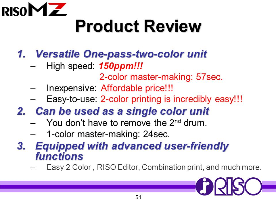 Product Review Versatile One-pass-two-color unit