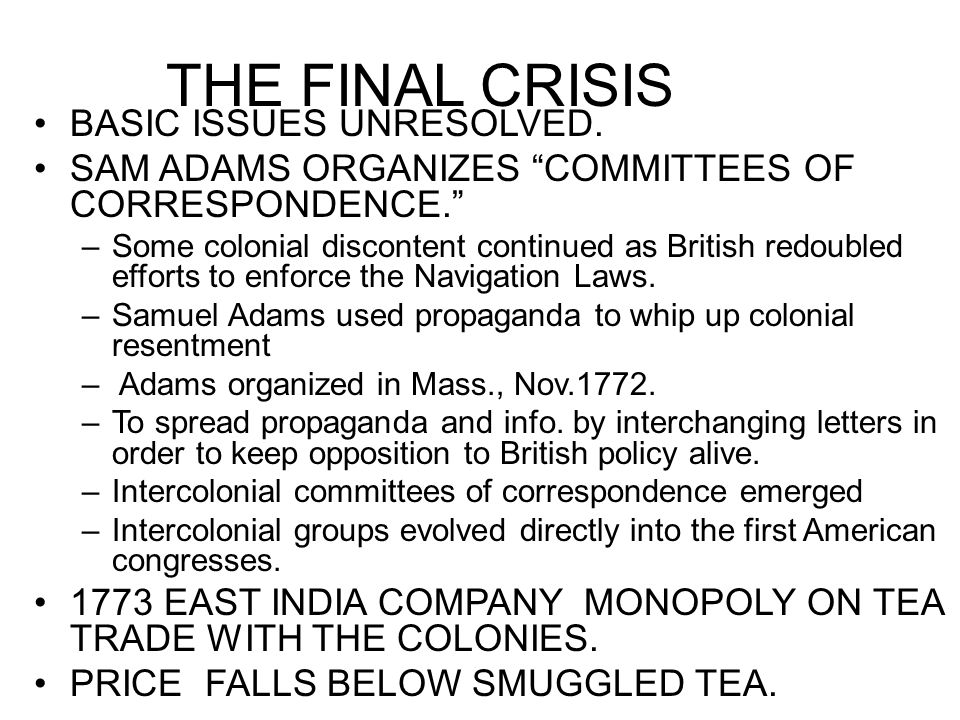 THE FINAL CRISIS BASIC ISSUES UNRESOLVED.