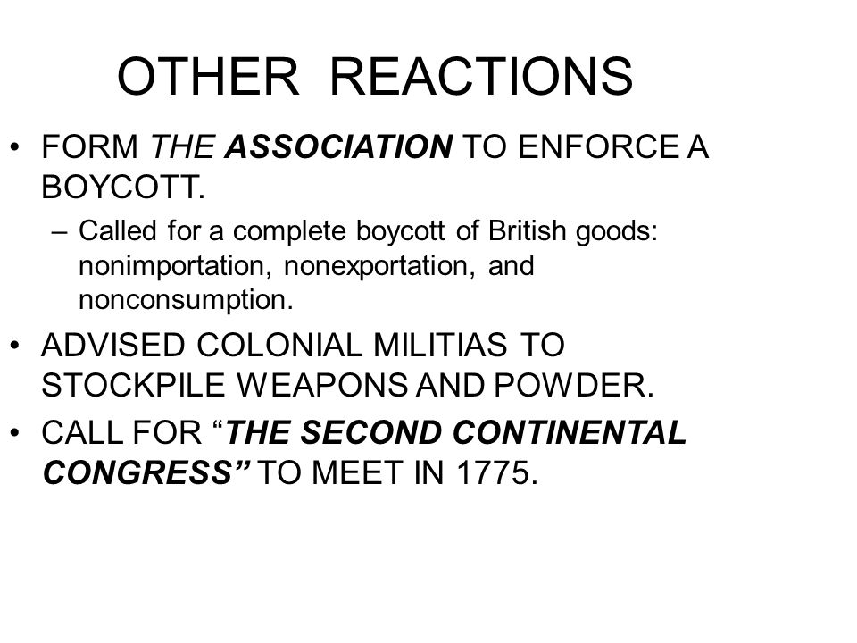 OTHER REACTIONS FORM THE ASSOCIATION TO ENFORCE A BOYCOTT.