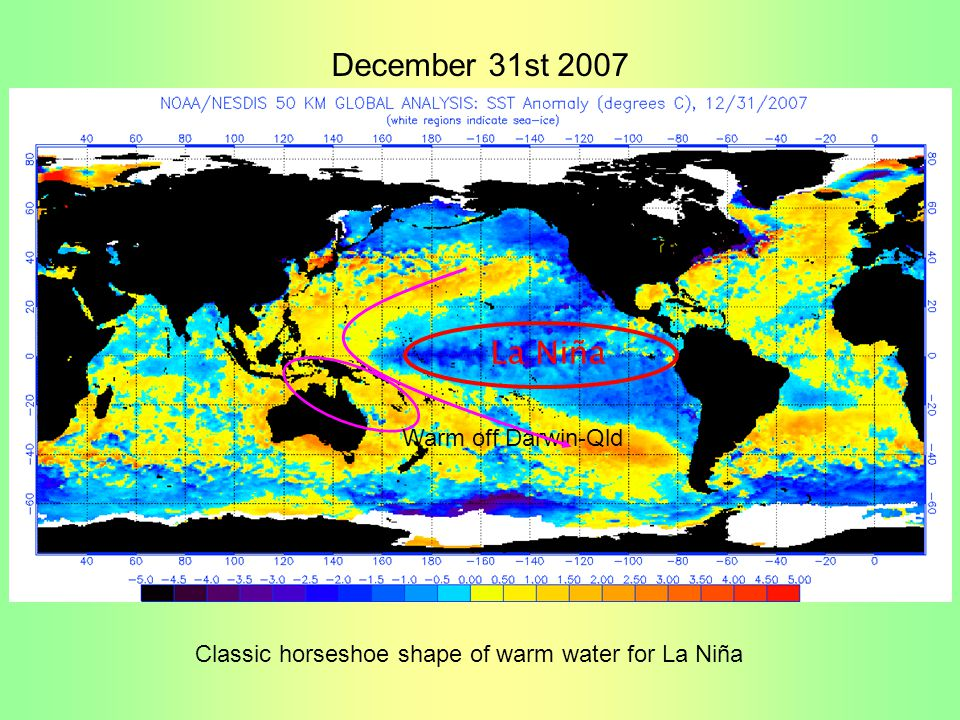 Classic horseshoe shape of warm water for La Niña