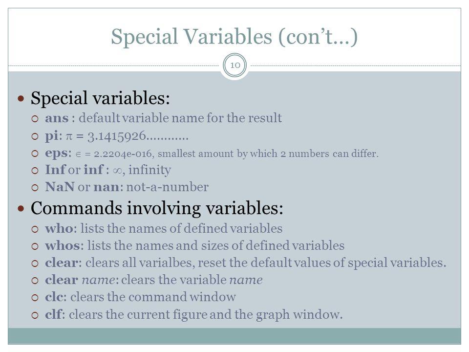 Special Variables (con't…)