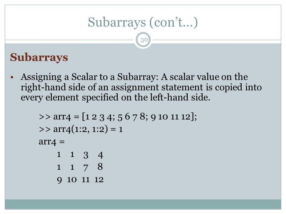 Subarrays (con't…) Subarrays