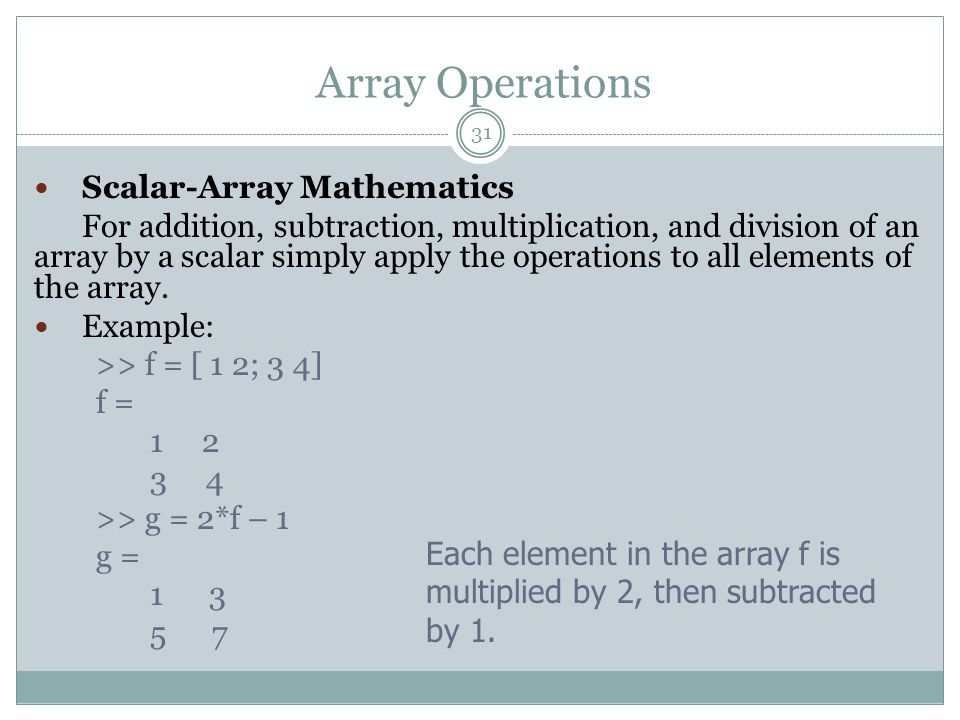 Array Operations Scalar-Array Mathematics