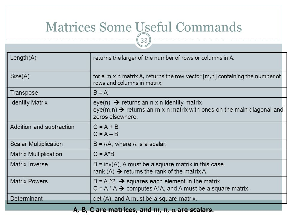 Matrices Some Useful Commands