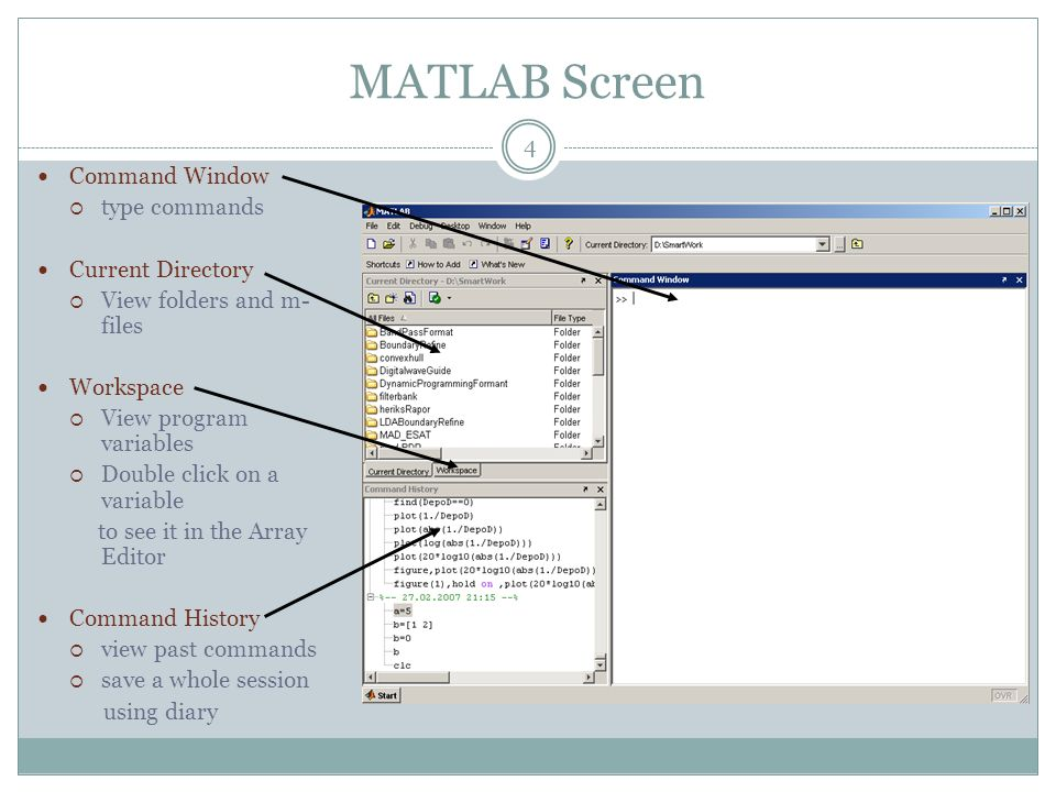 MATLAB Screen Command Window type commands Current Directory