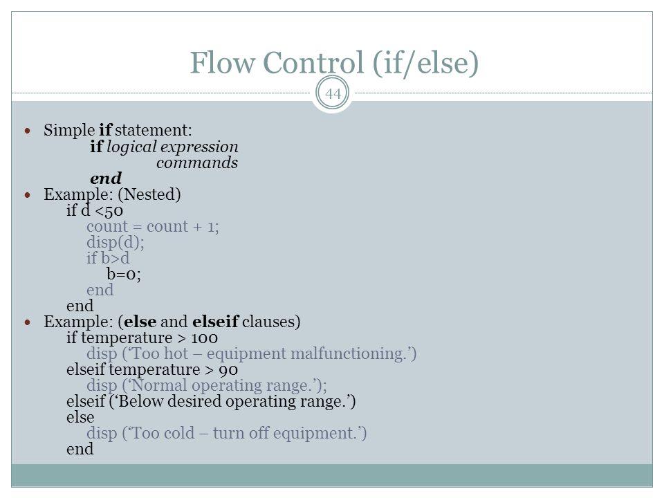 Flow Control (if/else)