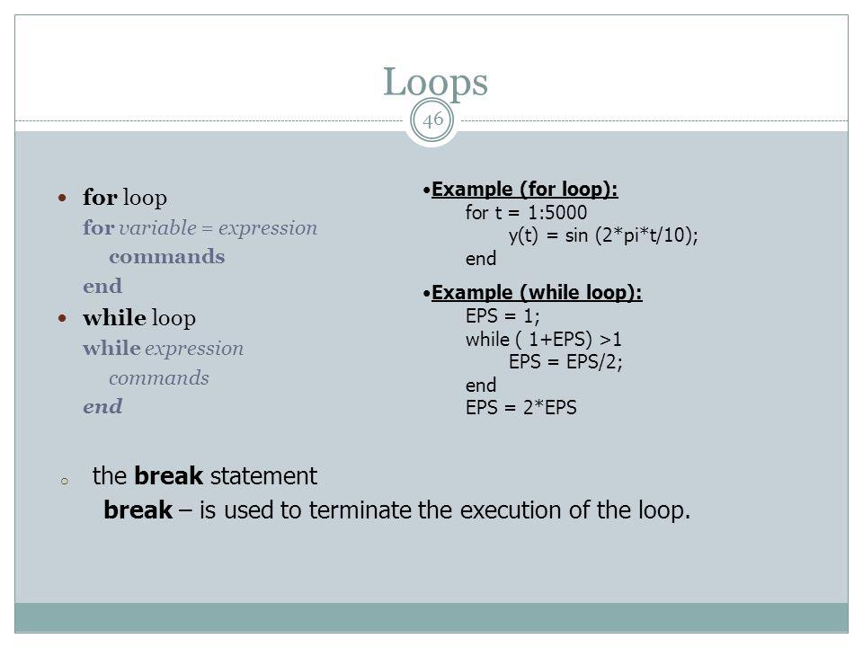 Loops the break statement