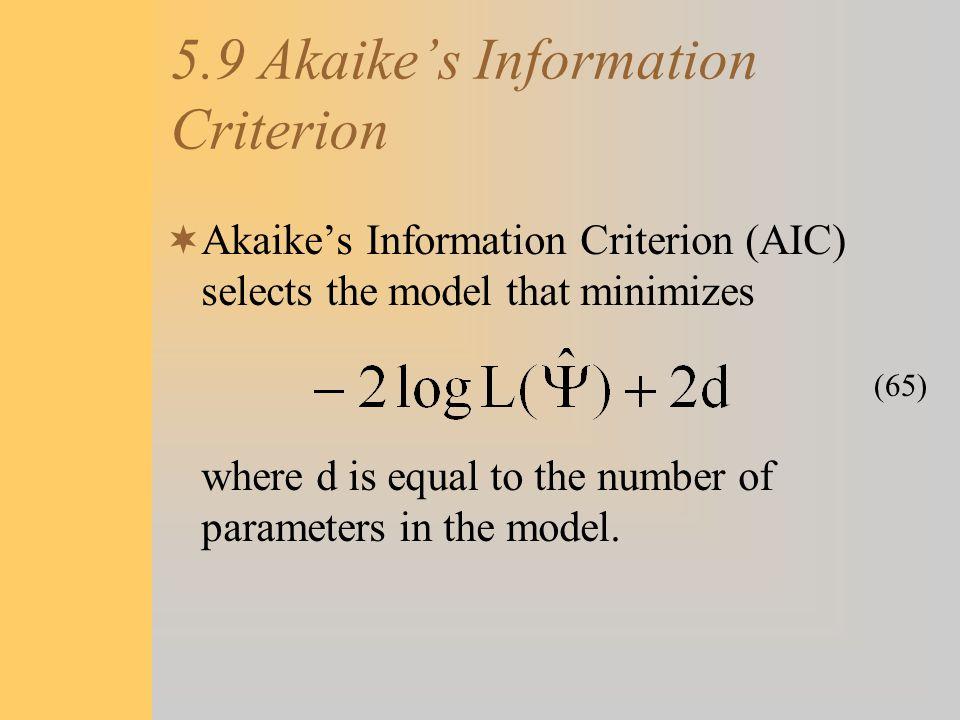 5.9 Akaike's Information Criterion