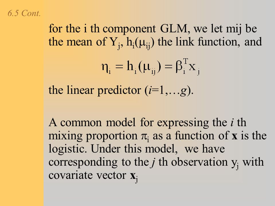 the linear predictor (i=1,…g).