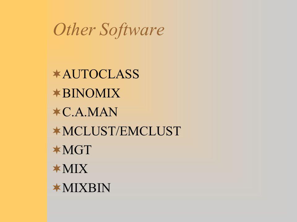 Other Software AUTOCLASS BINOMIX C.A.MAN MCLUST/EMCLUST MGT MIX MIXBIN
