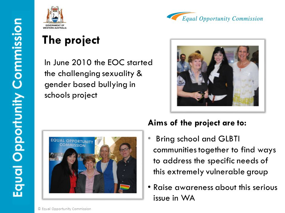 The project In June 2010 the EOC started the challenging sexuality & gender based bullying in schools project.