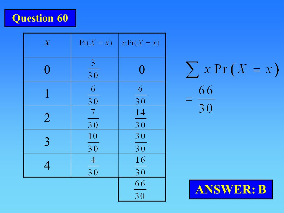 Question 60 x 1 2 3 4 ANSWER: B