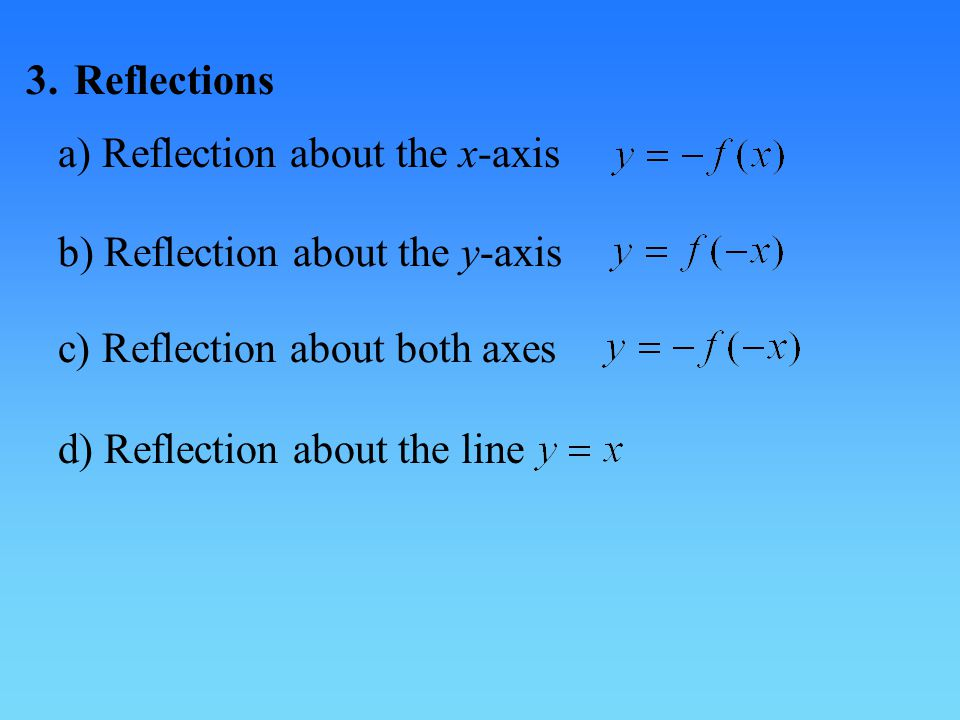 3. Reflections a) Reflection about the x-axis. b) Reflection about the y-axis. c) Reflection about both axes.