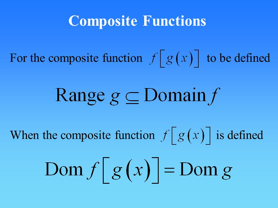 Composite Functions For the composite function to be defined