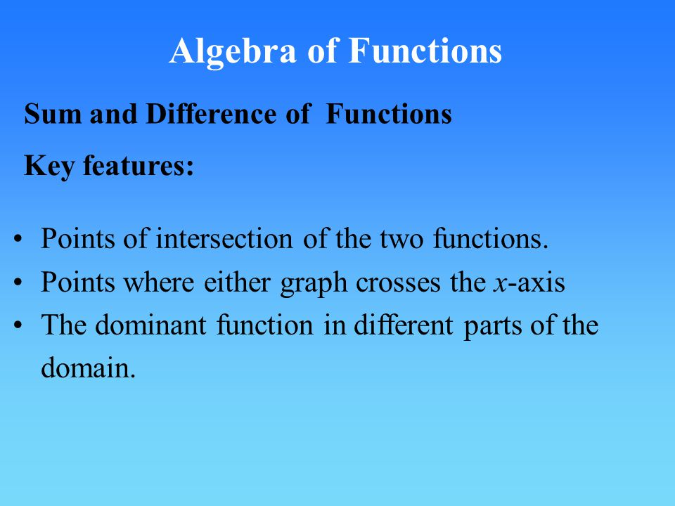 Algebra of Functions Sum and Difference of Functions Key features: