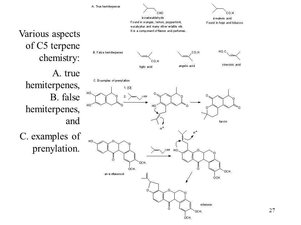 Various aspects of C5 terpene chemistry: